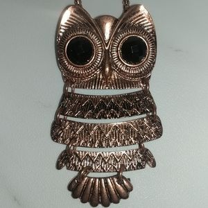 Copper colored owl necklace